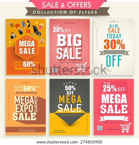 Collection of stylish Mega Sale Flyers with attractive discount offers.  - stock vector