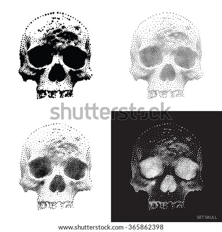 Collection of stylized bony skeleton of the face, design elements In Monochrome. Vector vintage Skulls Illustrations in pointillism style - stock vector