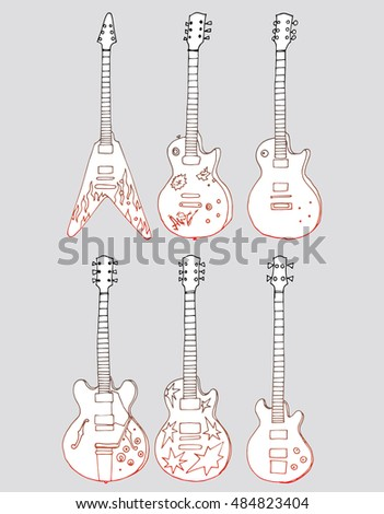 Collection of stylized guitar. Set of musical instruments. Electric guitar. Line art. Drawing by hand. Graphic arts. Doodle. Tattoo. Clipart.