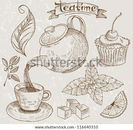 Collection of subjects for tea drinking - stock vector