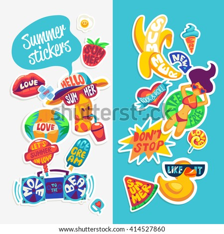 Collection of Summer stickers, badges and design elements. Retro beach emblems. Hello summer.