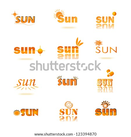 Collection of sun energy logo isolated on white background, Vector illustration. Set of Sun logo and design elements - stock vector
