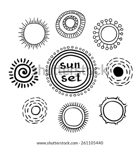 Collection of sun icons isolated on a white background/ Ethnic solar symbols/ Hand drawn vector illustration  - stock vector