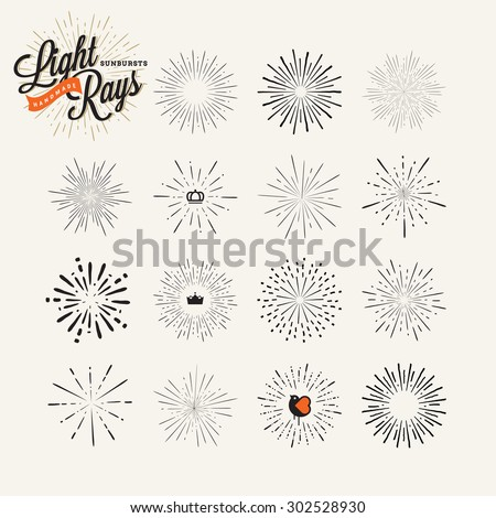 Collection of sunburst handmade vintage design elements. Vector light rays elements and icons for badges,and labels, for graphic and web design.      - stock vector
