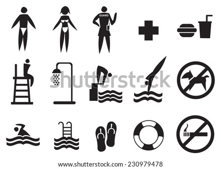 Collection of swimming pool vector icons in black isolated on white  - stock vector
