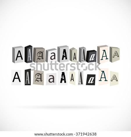 Collection of symbols alphabet, letter A newspapers cut style - stock vector