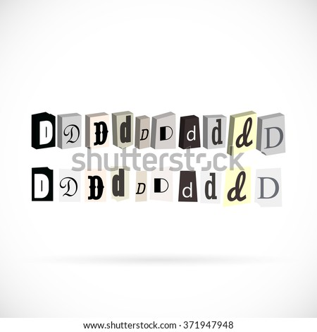 Collection of symbols alphabet, letter D newspapers cut style - stock vector