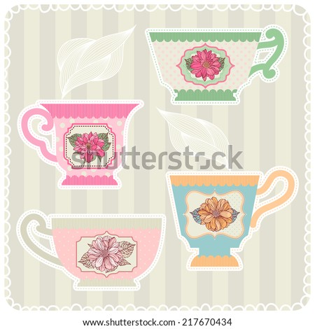 Collection of tea cups with dahlias. Vintage. - stock vector