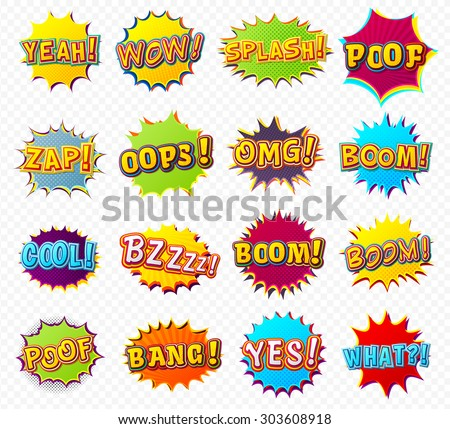 Collection of templates colorful speech bubbles and explosions in pop art style. Elements of design comic books. Poof, boom, zap, oops, yeah, cool, bang from different comic fonts .Vector illustration - stock vector