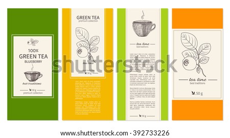 Collection Of Templates For Packaging Tea Coffee With Sketched Cups Graphic Ink Blueberry And