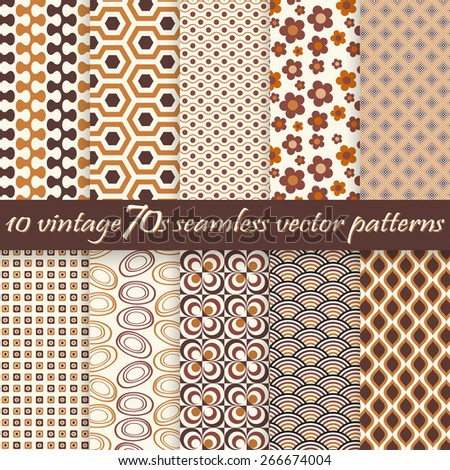 collection of ten seamless vintage 70s backgrounds - stock vector