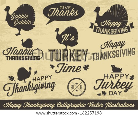 Collection of Thanksgiving Calligraphic Vector Illustrations in Vintage Style - stock vector