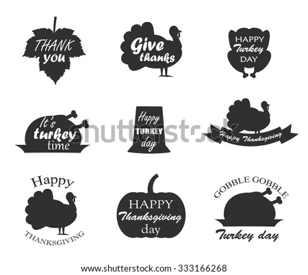 Collection of Thanksgiving Day symbols with lettering. Happy Thanksgiving day, give thanks, itâ??s turkey time, happy turkey day, gobble gobble, thank you. Turkey bird,pumpkin, leaf, pilgrim hat. - stock vector