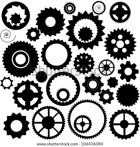 Collection of the clock gears - stock vector