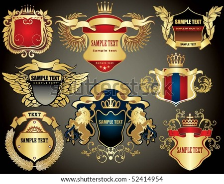 collection of the gold heraldry - stock vector