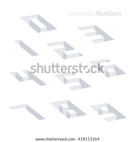 Collection of the isometric numbers. Effect Hole. Three-Dimensional elements. Vector illustration. - stock vector