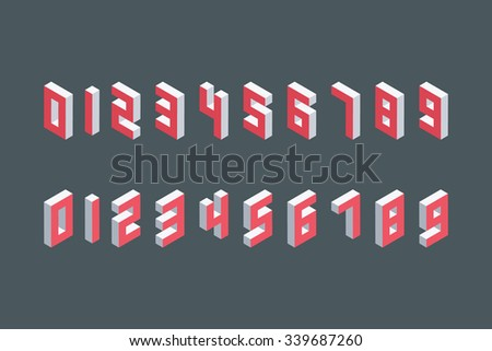 Collection of the isometric numbers. Three-Dimensional elements. Vector illustration. - stock vector
