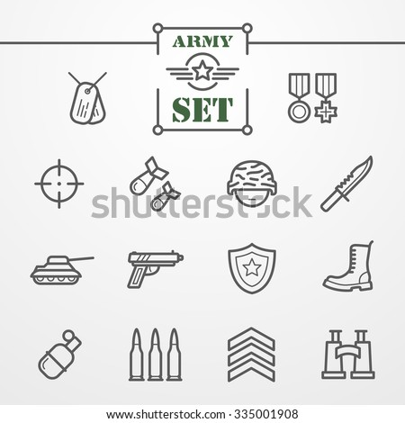 Collection of thin line icons - army and military theme - stock vector