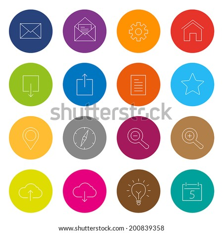 Collection of thin line web icons in flat design style. - stock vector