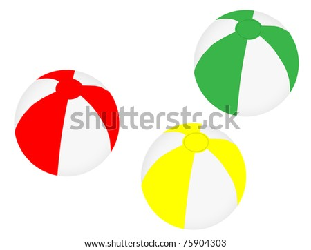 Collection of three different coloured beach balls, vector illustration - stock vector