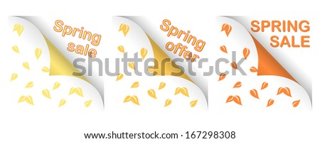 collection of three spring big curled corners, text - stock vector