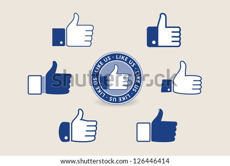 Collection of thumb up vector signs - stock vector