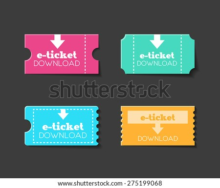 Collection of tickets or e-tickets for any kind of entertainment. Flat design style. - stock vector