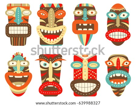 collection tiki tribal mask set scrapbooking stock vector royalty