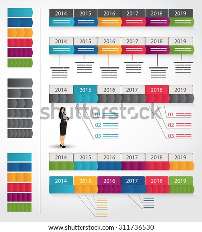 Collection of timeline templates with variable arrow set - stock vector