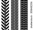 Collection of tire treads in black and white with repeat pattern - stock vector