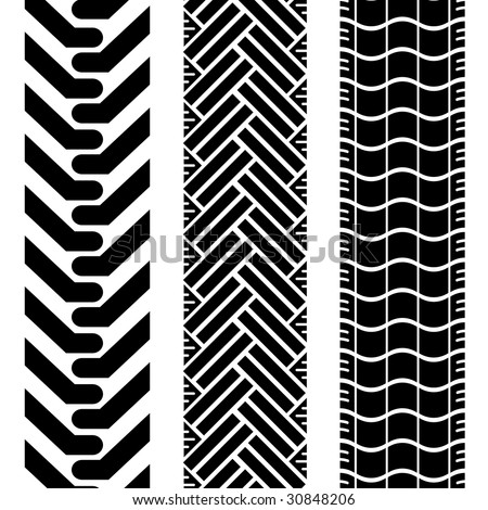 Collection of tire treads in black and white with repeat pattern