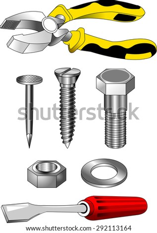collection of tools for the repair of an apartment on a white background - stock vector