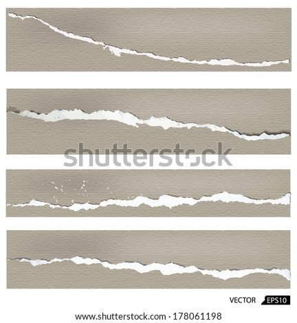 Collection of torn paper, vector illustration - stock vector