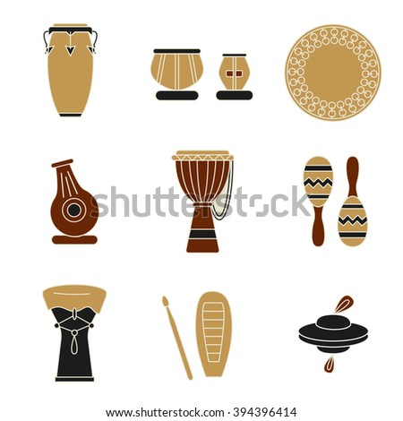 Collection of traditional percussion instruments.Flat icons in black, deep red and pale brown colors. - stock vector