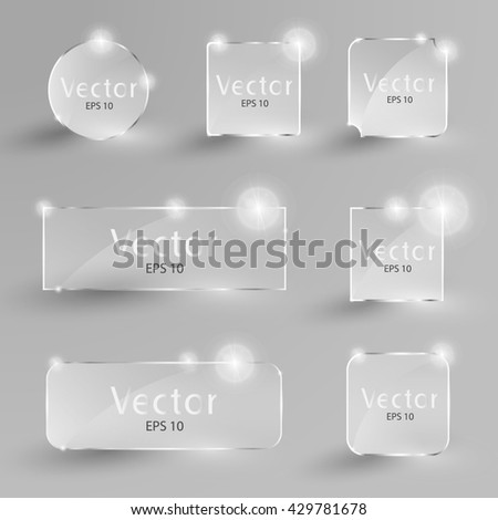 Collection of transparent glare glass banners. Glass glare square and buttons. Gloss, blank and shiny glass buttons. Vector illustration icons glare set.