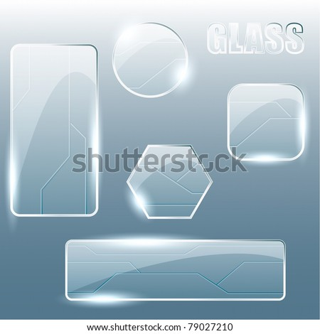 Collection of transparent glass banners (Eps10); - stock vector