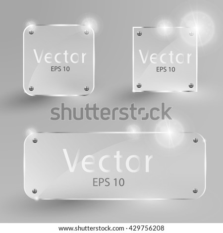 Collection of transparent glass banners. Glass frames and square. Gloss, blank, empty round glass. Vector illustration icons set. shine square. shine banner icons. - stock vector