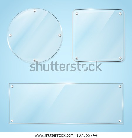 Collection of transparent glass frames for any non-white background with place for your text. Vector illustration. - stock vector