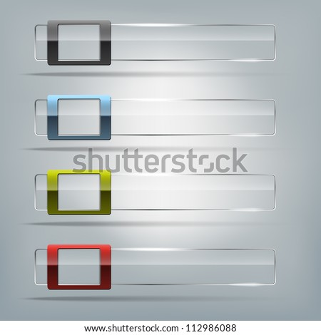 Collection of transparent vector glass frames - place for text - stock vector