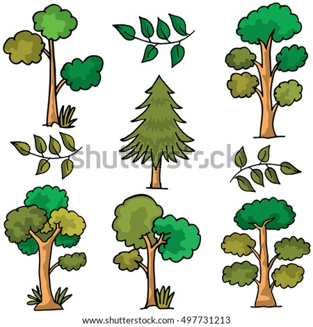 Collection of tree set different doodles vector illustration