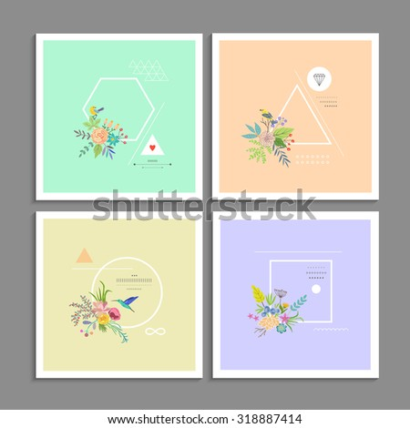 Collection of trendy creative cards. Stylish decor with flowers, birds and geometric shapes. Hipster logotypes. Vector. Isolated. - stock vector