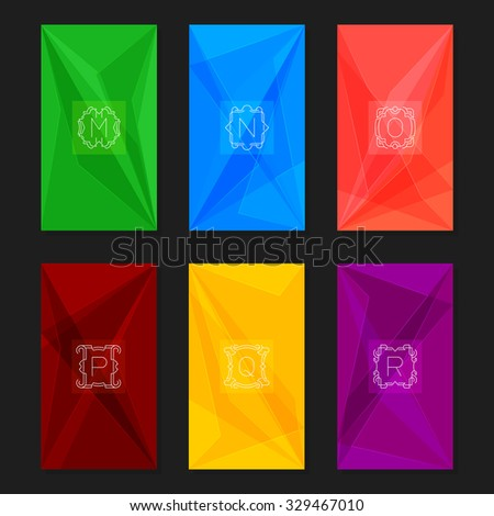 Collection of trendy geometric triangular backgrounds with letter monograms M, N, O, P, Q, R.  Abstract geometric vector backgrounds. - stock vector