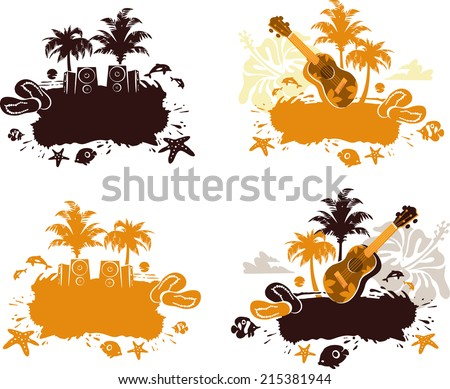 Collection of Tropical Abstract Banners