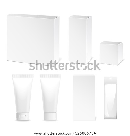 Collection of tubes and packing boxes, cardboard boxes, plastic cream tube. Vector illustration - stock vector