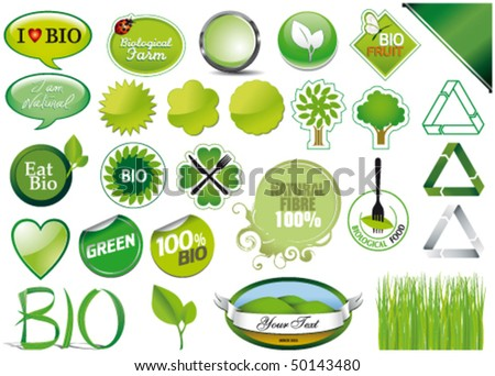 Collection of twenty-seven icons bio - stock vector