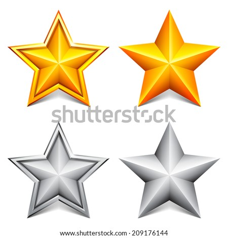 Collection of two golden and two silver stars. - stock vector