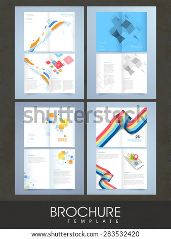 collection two page brochure template flyer stock vector royalty
