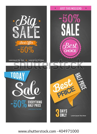 Collection of typographic posters - sales promotion, discounts. - stock vector