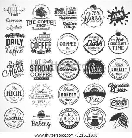 Collection of Typographical Bakery, Coffee, Chocolate Labels and Badges