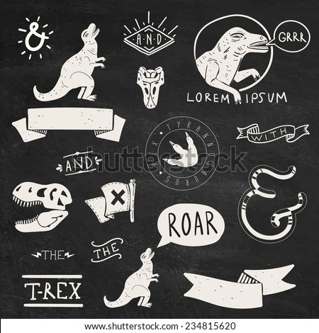 Collection of Tyrannosaurus Rex design elements and labels - stock vector